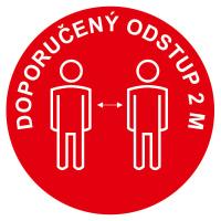 Podlahové značení - Doporučený odstup 2m - červená