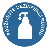 Používejte dezinfekci rukou - modrá