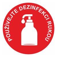 Používejte dezinfekci rukou - červená
