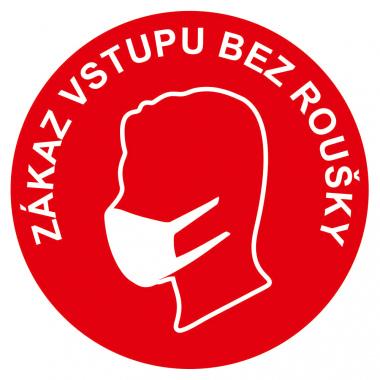 Zákaz vstupu bez roušky - červená